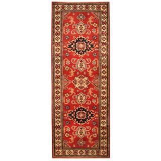 Handmade Herat Oriental Afghan Hand-knotted Tribal Kazak Wool Runner (2'2 x 5'9)
