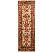 Handmade Herat Oriental Afghan Hand-knotted Tribal Kazak Wool Runner (2' x 6')