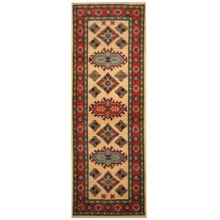 Handmade Herat Oriental Afghan Hand-knotted Tribal Kazak Wool Runner (2'1 x 6')