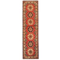 Handmade Herat Oriental Afghan Hand-knotted Tribal Kazak Wool Runner - 2'8 x 9'1