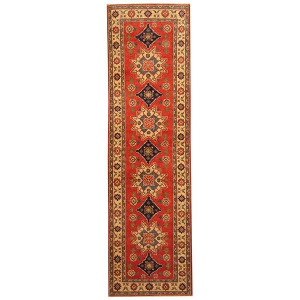 Handmade Herat Oriental Afghan Hand-knotted Tribal Kazak Wool Runner - 2'7 x 9'7