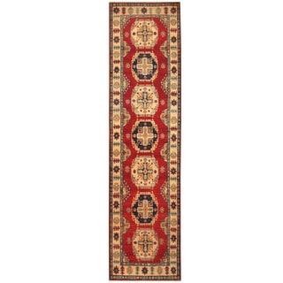 Handmade Herat Oriental Afghan Hand-knotted Tribal Kazak Wool Runner (2'8 x 10'8)