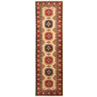 Handmade Herat Oriental Afghan Hand-knotted Tribal Kazak Wool Runner (2'9 x 9'8)