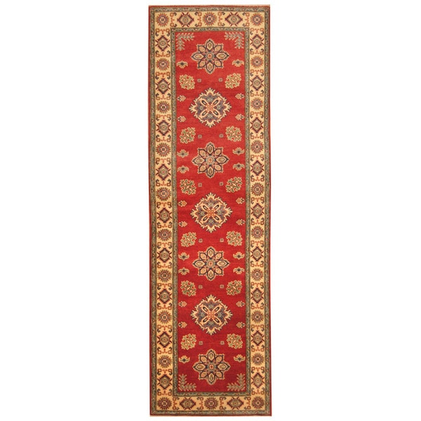 Handmade Herat Oriental Afghan Hand-knotted Tribal Kazak Wool Runner (2'9 x 10')