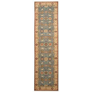Handmade Herat Oriental Afghan Hand-knotted Tribal Kazak Wool Runner (2'7 x 10'5)