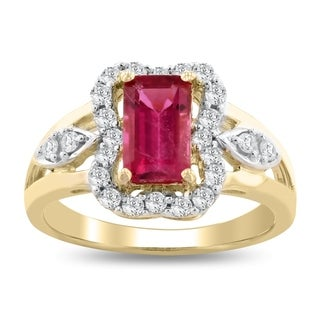 Auriya 14k Yellow Gold 1 3/8ct Rubellite and 3/8ct TDW Diamond Ring - White (More options available)