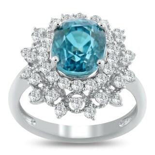 Auriya 14k White Gold 5 5/8ct Blue Zircon and 3/4ct TDW Diamond Ring
