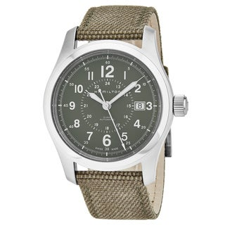 Hamilton Men's H70605963 'Khaki Field' Green Dial Khaki Fabric Strap Swiss Automatic Watch