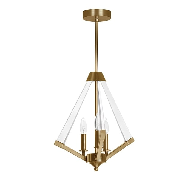 3-Light Vintage Bronze Pendant with Acrylic Shade