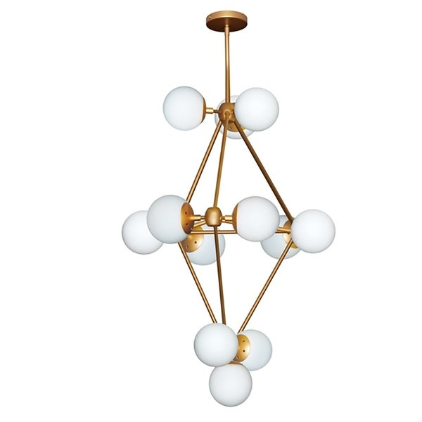 12Lt Chandelier, Gold Finish w/White Glass Balls