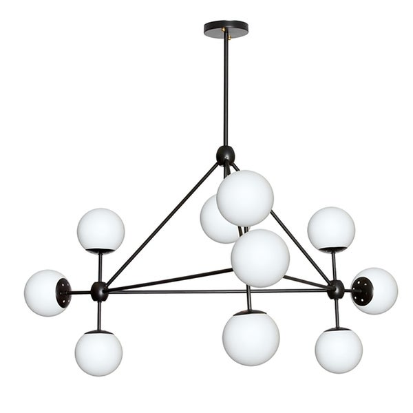 Black Steel 10-light Chandelier with Frosted Glass Shades
