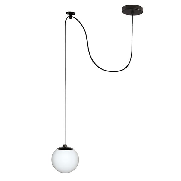1-Light Black Pendant with Frosted Glass