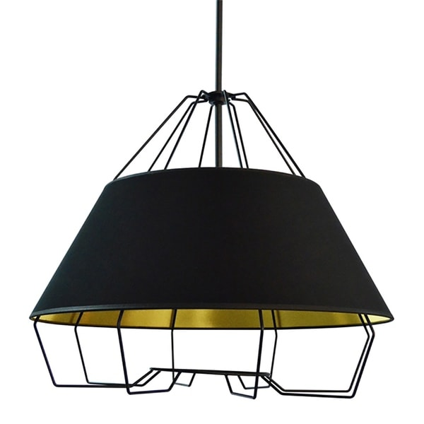 4-Light Black and Gold Pendant with Painted Steel Shade