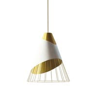 1-Light White Pendant with Painted Steel Shade