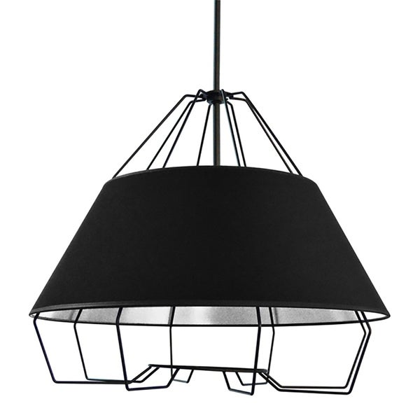 4-Light Black and Silver Pendant with Painted Steel Shade