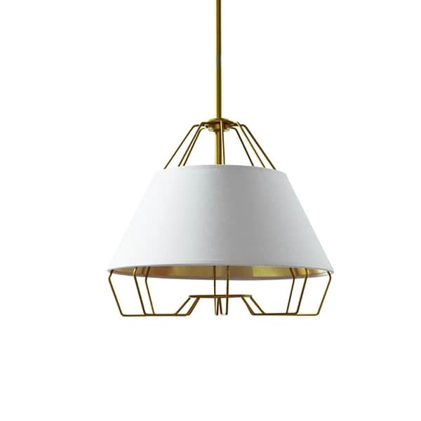1-Light White and Gold Pendant with Painted Steel Shade