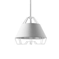 1-Light White and Silver Pendant with Painted Steel Shade
