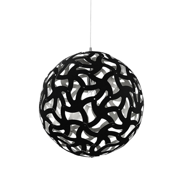 1-Light Black and Silver Pendant with Electroplated Steel Shade