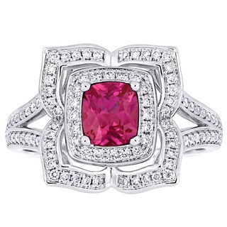 Miadora Signature Collection 14k White Gold Cushion-Cut Pink Sapphire & 3/8ct TDW Diamond Floral Halo Split Shank Ring