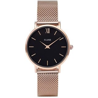 Cluse MINUIT Women's CL30016 Rose-Tone Stainless Steel Mesh Black Dial Watch