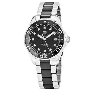 Tag Heuer Women's WAY131C.BA0913 '300 Aquaracer' Black Diamond Dial Stainless Steel/Ceramic Swiss Quartz Watch|https://ak1.ostkcdn.com/images/products/18025017/P24193025.jpg?impolicy=medium