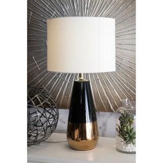 "Watch Hill 25"" Sarah Ceramic Linen Shade Table Gold/Black Lamp"