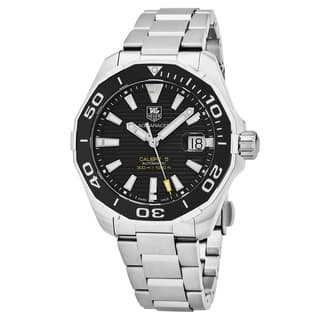 Tag Heuer Men's WAY201A.BA0927 '300 Aquaracer' Black Dial Stainless Steel Swiss Automatic Watch|https://ak1.ostkcdn.com/images/products/18025032/P24193032.jpg?impolicy=medium