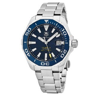 Tag Heuer Men's WAY201B.BA0927 '300 Aquaracer' Blue Dial Stainless Steel Swiss Automatic Watch|https://ak1.ostkcdn.com/images/products/18025033/P24193033.jpg?impolicy=medium