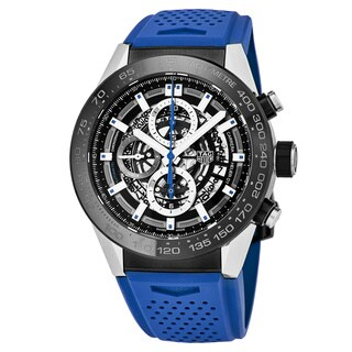 Link to Tag Heuer Men's  'Carrera' Black Skeleton Dial Blue Rubber Strap Chronograph Swiss Automatic Watch Similar Items in Men's Watches