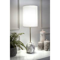 "Watch Hill 27""  Maya Ceramic Linen Shade Table Lamp - 27"" h x 9"" w x 9"" d"