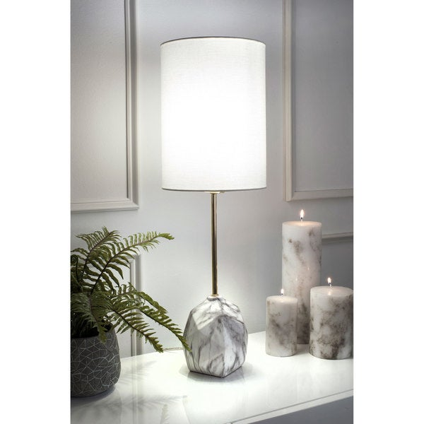 "Watch Hill 27"" Maya Ceramic Linen Shade Table Lamp - 27"" h x 9"" w x 9"" d"