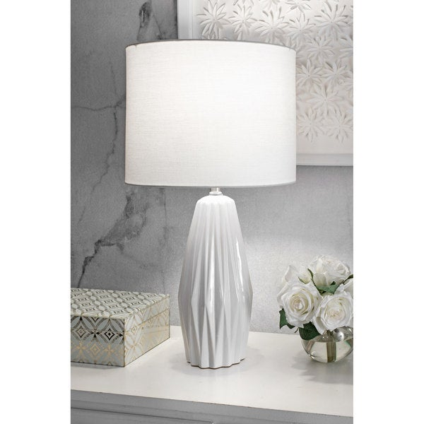 """nuLOOM 25"""" Eva Ceramic Linen Shade Table Lamp - 25"""" h x 13"""" w x 13"""" d. Opens flyout."""