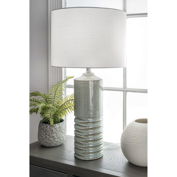 Watch Hill 27-inch Naomi Ceramic Linen Shade Light Sage Table Lamp