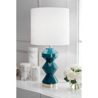 Watch Hill 26u0027u0027 Aurora Ceramic Linen Shade Dark Teal Table Lamp