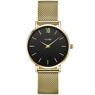 Cluse MINUIT Women's CL30012 Black and Gold-tone Stainless Steel Mesh Watch