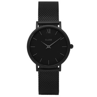 Cluse MINUIT Women's CL30011 All Black Stainless Steel Mesh Watch