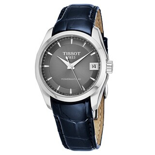 Tissot Women's T035.207.16.061.00 'Couturier Powermatic 80' Grey Dial Black Leather Strap Swiss Automatic Watch