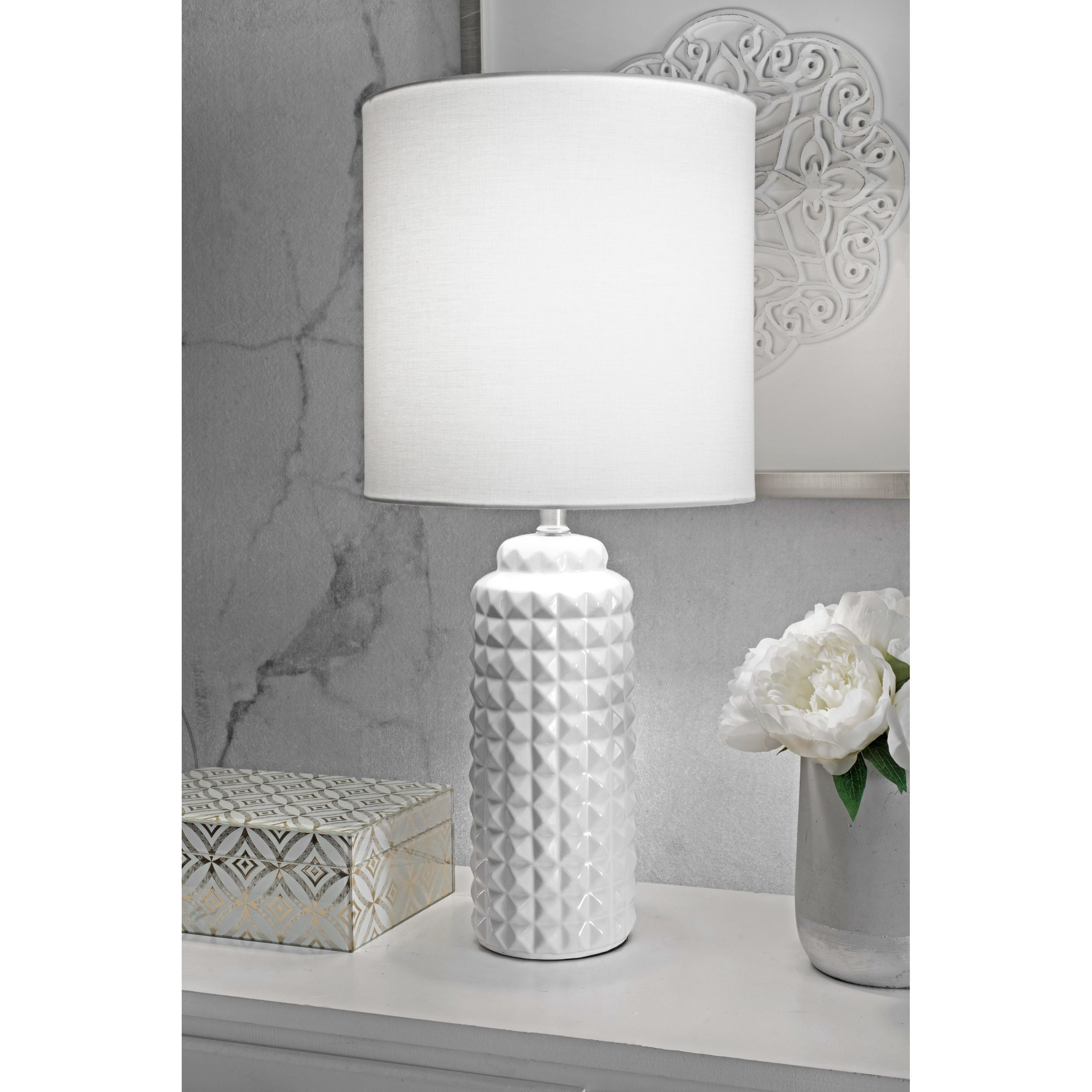 03c4efb0d13 Details about Watch Hill 26   Lydia Ceramic Linen Shade White Table Lamp