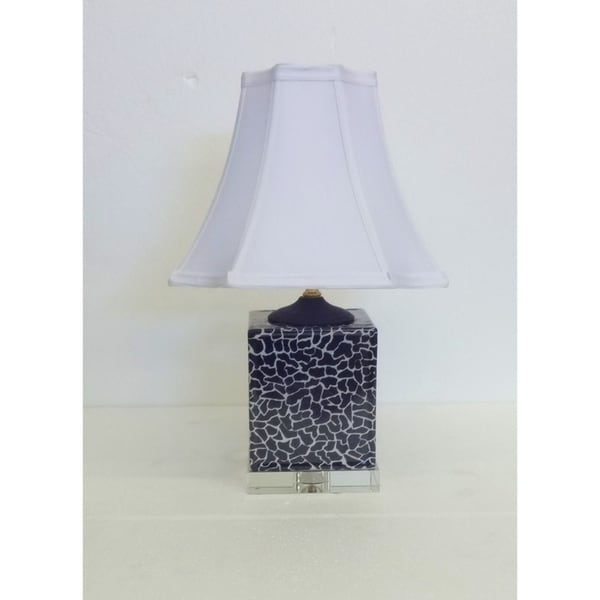 Snow Leopard Print Porcelain Box Table Lamp on Crystal Base