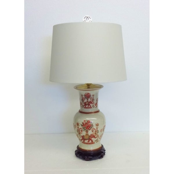 Floral Thai Elephant Porcelain Table Lamp