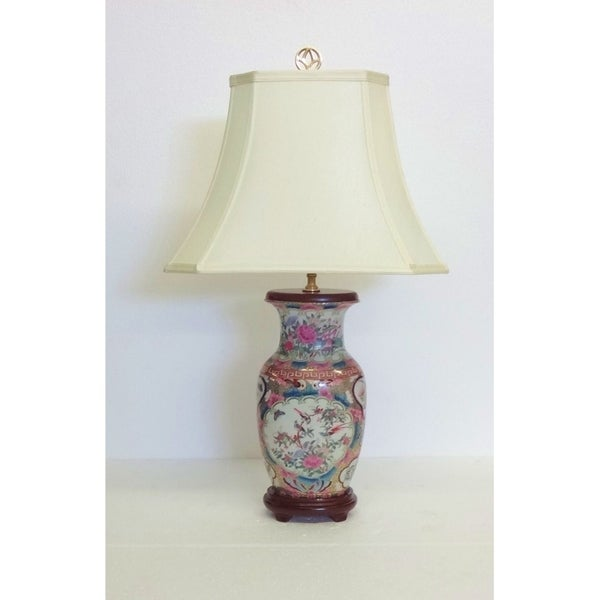 Rose Medallion Oval Vase Table Lamp