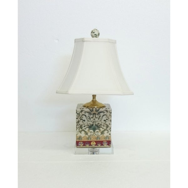Empress Pattern Box Porcelain Table Lamp on Crystal Base
