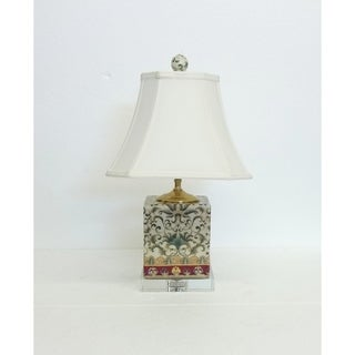 Empress Pattern Box Porcelain Table Lamp on Crystal Base