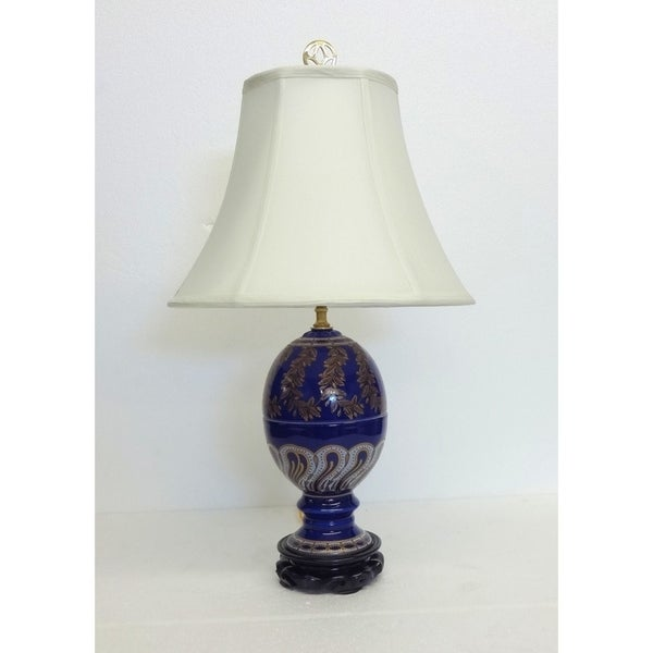 Greek Cobalt Egg Shaped Porcelain Table Lamp