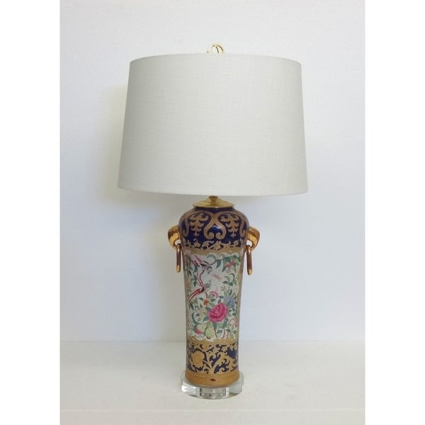 Royal Medallion Elephant Ears Porcelain Table Lamp on Crystal Base