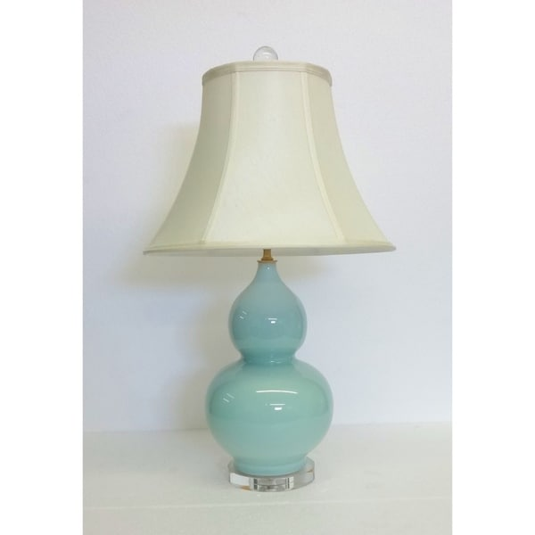 Sea Foam Double Gourd Porcelain Lamp on Crystal Base