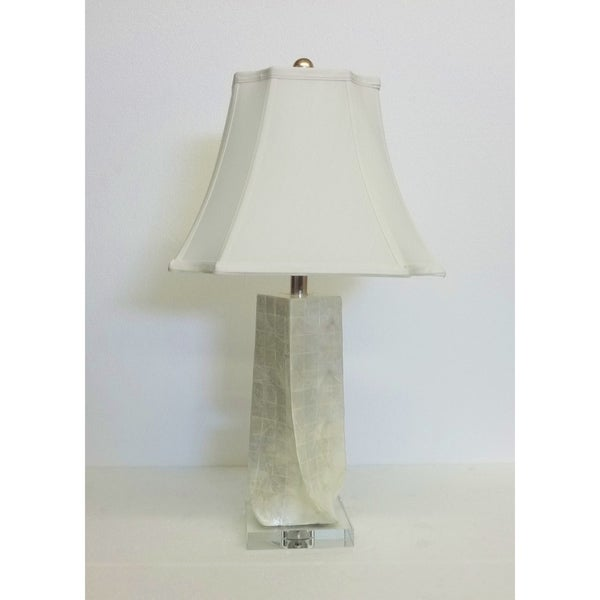 Twist Mother of Pearl Lamp on Crystal Base