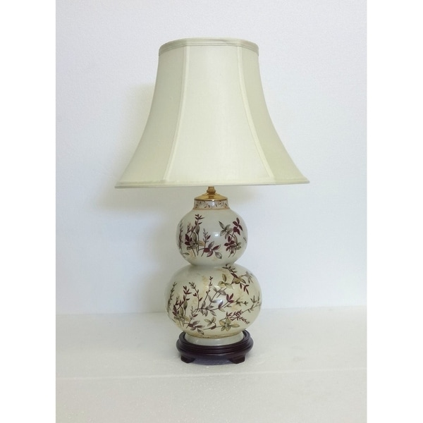 Autumn Leaves Double Gourd Porcelain Table Lamp