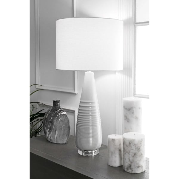 Watch Hill 29'' Ashley Ceramic Linen Shade Grey Table Lamp. Opens flyout.