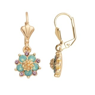 Isla Simone 14K Gold Plated Pacific Blue Opal Flower Dangle Earrings, Made with Swarovski Elements Crystal El